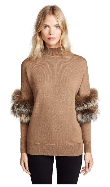 KOBI HALPERIN elsa sweater in camel - Cannot be shipped outside the USA Fur: Dyed Silver Fox,...