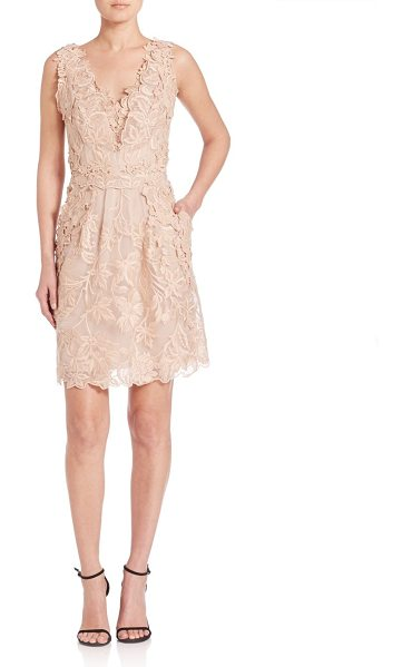 KOBI HALPERIN emme embroidered silk organza dress in champagne - Ladylike embroidered dress with side pockets.V-neck and...