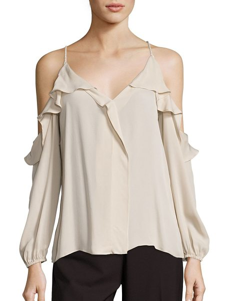 KOBI HALPERIN laurell silk georgette cold-shoulder blouse in champagne - Cold-shoulder blouse with cascading ruffle trim.V-neck....