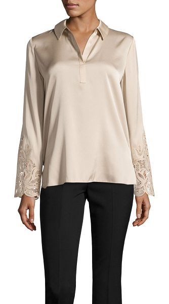 "KOBI HALPERIN Lenae Collared Lace-Cuff Blouse in cream - Kobi Halperin ""Lenae"" stretch-silk blouse features..."