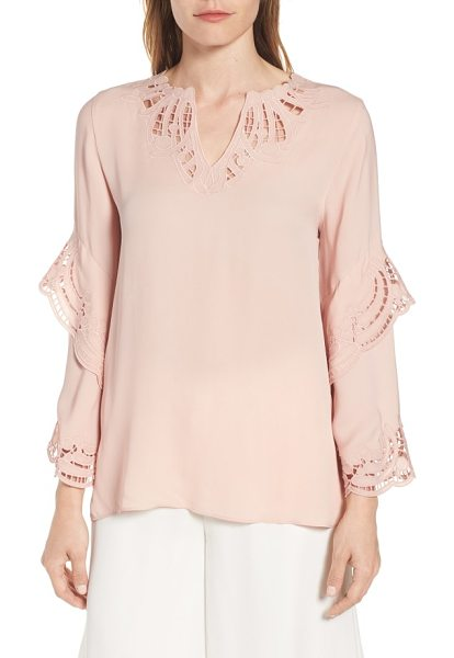 KOBI HALPERIN lia embroidered silk blouse in rosewater - Eyelet embroidery highlights the notched neck and...