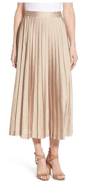 KOBI HALPERIN peyton pleat midi skirt in dune - A pleated skirt with a satiny luster shines day or night...
