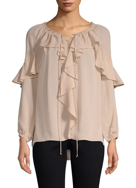 KOBI HALPERIN sevan ruffled silk peasant blouse in champagne - Chic silk peasant blouse with ruffle and lace-up detail....