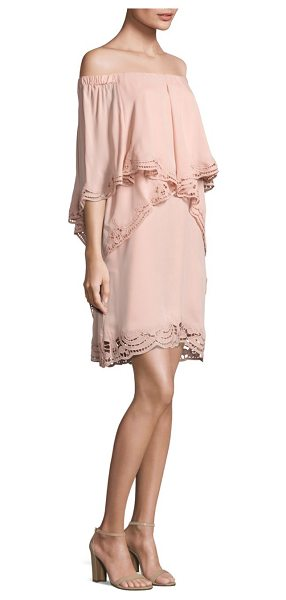 KOBI HALPERIN veronica ruffled off-the-shoulder dress in rosewater - Silk dress exudes traditional appeal updated with a...