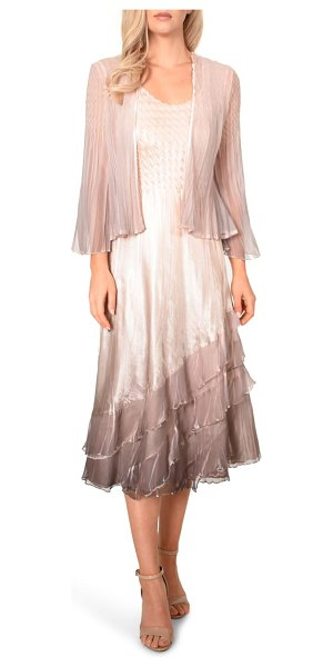 Komarov charmeuse & chiffon cocktail dress with jacket in pink
