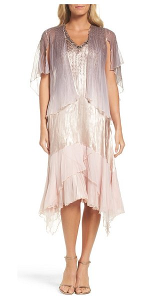 Komarov embellished dress & capelet in vintage rose cafe ombre - A fluttery chiffon capelet completes the romantic look...
