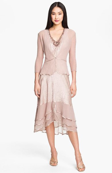 Komarov pleated satin & chiffon dress with jacket in vintage rose - Clear faceted beads adorn the V-neckline of a sleeveless...
