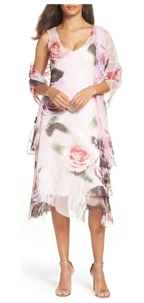 Komarov sheath dress & shawl in antique rose - Hazy flowers bring out the soft, romantic aesthetic of...