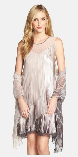 KOMAROV tiered shift dress & shawl in cafe ombre - Layers of flowing charmeuse and chiffon add eye-catching...