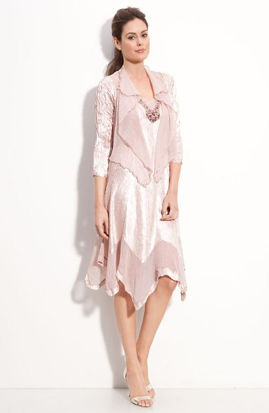 Komarov beaded pleated charmeuse dress & jacket in vintage rose - Lustrous, beautifully pleated dress is detailed with...