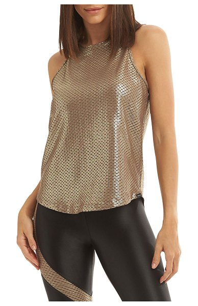 Koral Activewear Aerate Brillian Netz Shiny Active Tank in cafe