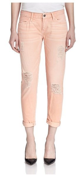 KORAL ACTIVEWEAR Distressed relaxed skinny jeans in peach - A whiskered, pastel wash, threadbare shredding and a...