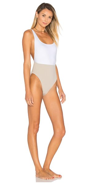Kore SWIM NYX One Piece in taupe - Self: 77% nylon 23% spandexContrast: 83% poly 17%...