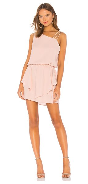 krisa Asymmetrical Layered Mini Dress in blush - 100% poly. Fully lined. Multi-shoulder strap detail....