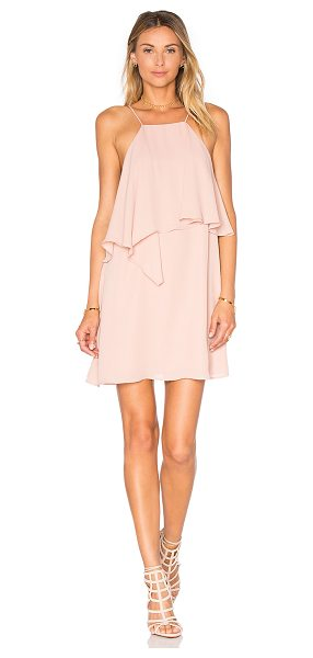 krisa Flounce Top Mini Dress in blush - 100% poly. Fully lined. Bodice overlay. Back button...