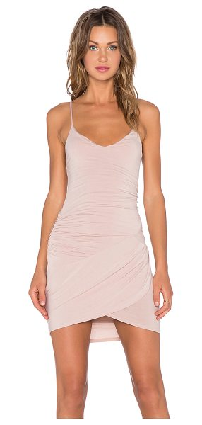 krisa Gather Cami Dress in tan - 95% micro modal 5% spandex. Unlined. Ruched sides....