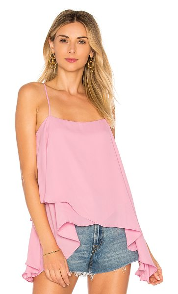 krisa High Low Cami Top in pink - 100% poly. Adjustable shoulder straps. Draped layered...