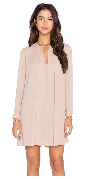 krisa Long Sleeve Swing Dress in beige - Poly blend. Dry clean only. Fully lined. Neckline...