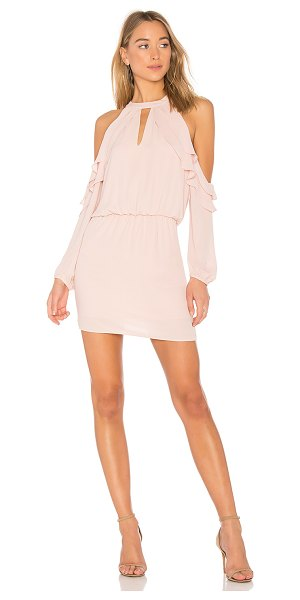 krisa Ruffle Shoulder Dress in pink - 100% poly. Fully lined. Front keyhole. Ruffle trim....