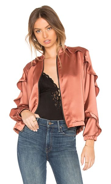 krisa Stella Satin Bomber in metallic copper - 96% poly 4% spandex. Front zipper closure. Side seam...
