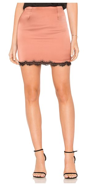 "krisa Stella Satin Skirt in metallic copper - ""96% poly 4% spandex. Fully lined. Eyelash lace trim...."