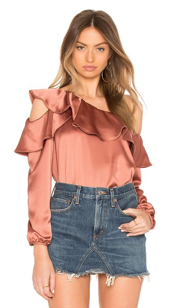 KRISA Stella Satin Top - 96% poly 4% spandex. One shoulder styling. Ruffle trim....