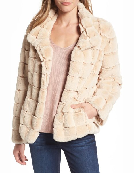 Kristen Blake faux fur jacket in blush - Lustrous faux fur in a windowpane grid adds instant...