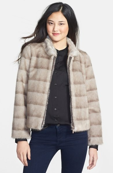 Kristen Blake faux mink jacket in taupe mink - Ombre-striped patterning brings the lush look of mink to...