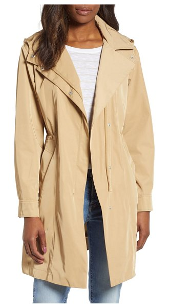 Kristen Blake tech hooded trench coat in beige