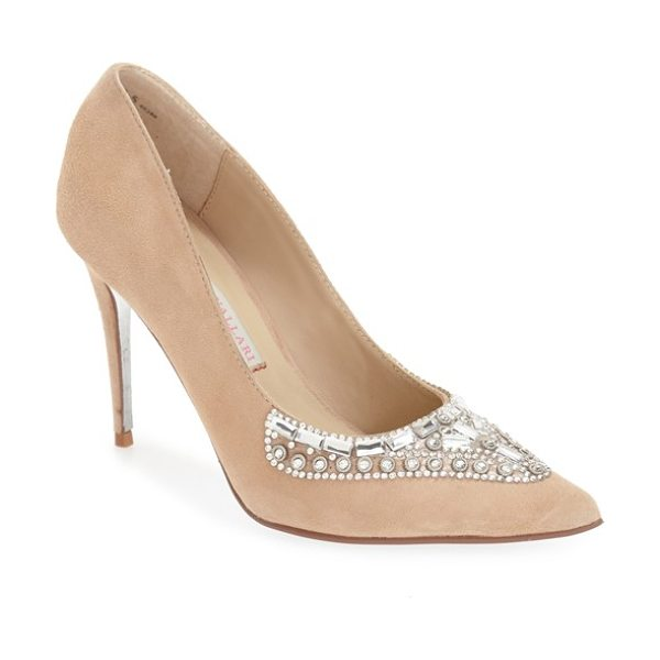 Kristin Cavallari 'dani' embellished pointy toe pump in nude leather - Colorful crystals flash and shimmer on a glamorous...