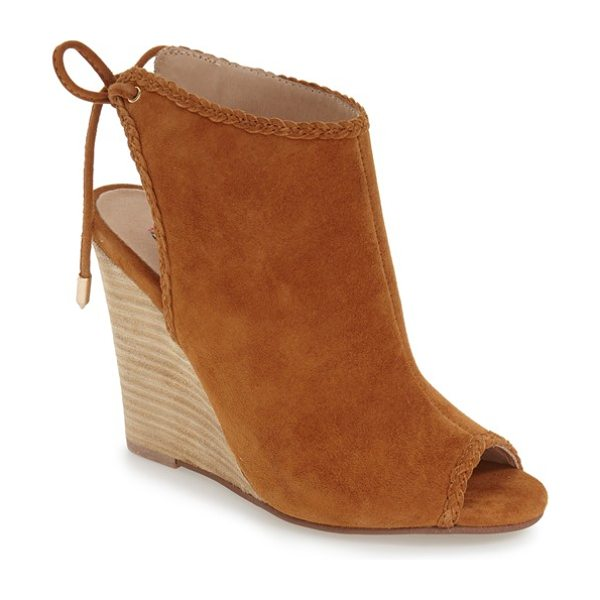 KRISTIN CAVALLARI 'larox' wedge sandal - Braided trim accents the buttery-soft suede of a...