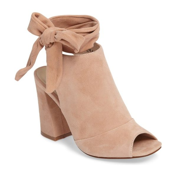 Kristin Cavallari leeds peep toe bootie in sand suede - Soft suede and a high vamp define this cool-weather...