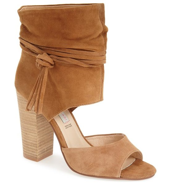 Kristin Cavallari leigh peep toe sandal in camel - Wraparound ties knotted at one side accent the softly...