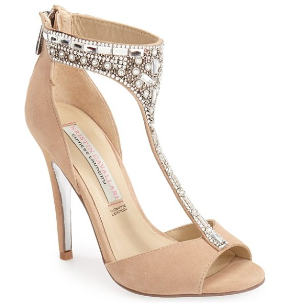 Kristin Cavallari 'lena' crystal t-strap sandal in nude suede - A curved, slender T-strap covered in an opulent array of...