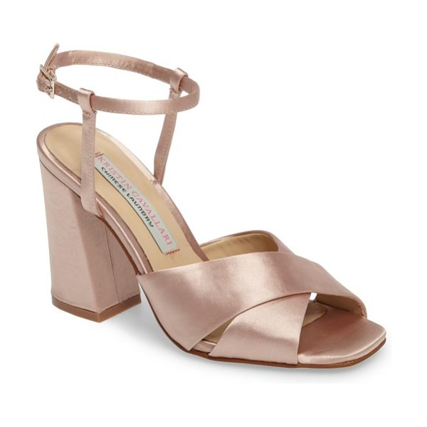 Kristin Cavallari low light cross strap sandal in nude satin - A squared toe and a flared block heel add...