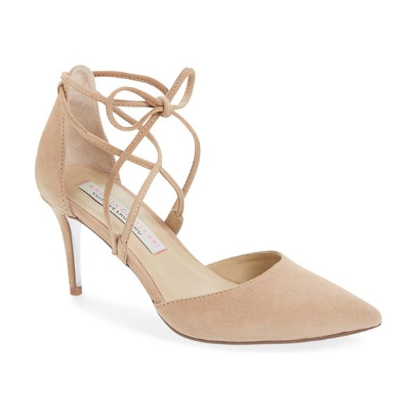 Kristin Cavallari 'opel' lace-up pointy toe pump in now nude suede - Slender ghillie laces lend on-trend style to a svelte...