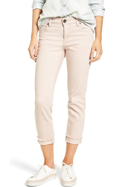 KUT from the Kloth amy stretch slim crop jeans in blush rose - Frayed hems and turned-back cuffs add laid-back cool to...