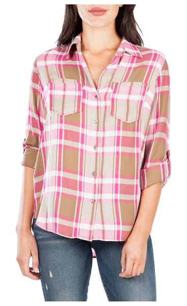 KUT from the Kloth hannah button down plaid shirt in beige