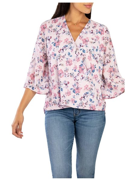 KUT from the Kloth ivana floral print faux wrap blouse in pink