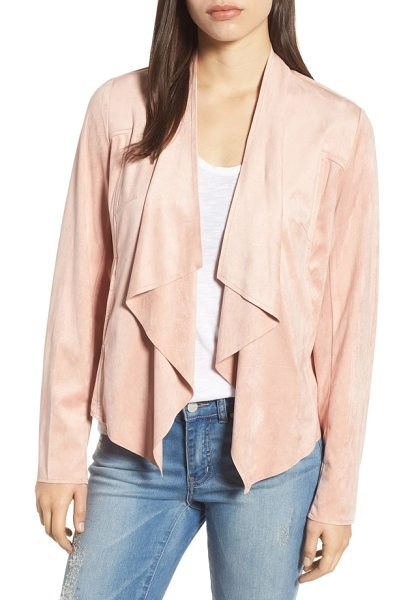 KUT from the Kloth tayanita faux suede jacket in rose - Supple faux suede lends luxe texture and soft drape to...