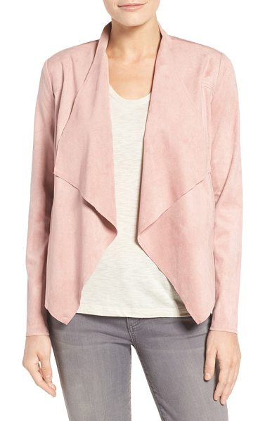 KUT from the Kloth tayanita faux suede jacket in blush - Supple faux suede lends luxe texture and soft drape to...
