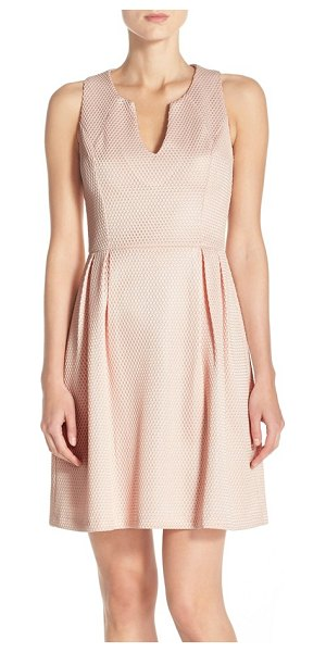 KUT from the Kloth textured fit & flare dress in blush
