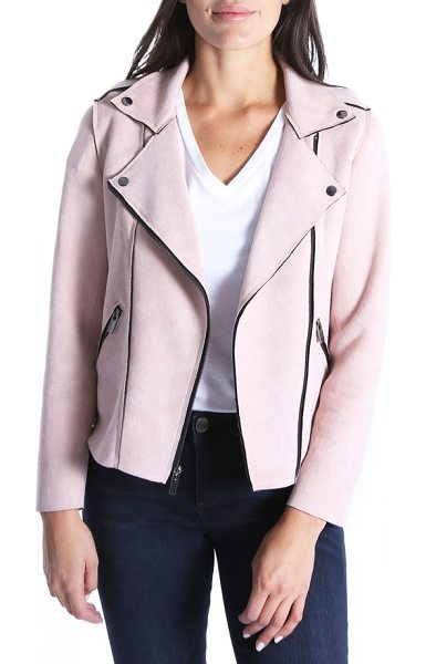 KUT from the Kloth haddie faux suede moto jacket in pink bloom - If your moto took a spa day, it might come back as this...
