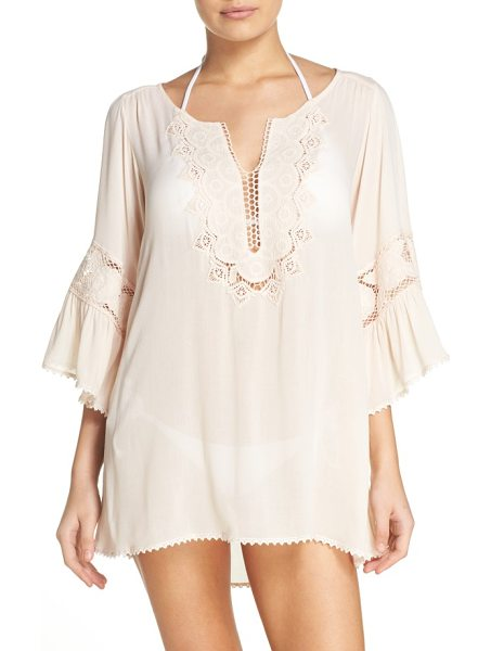 L*SPACE 'breakaway' cover-up tunic - Crocheted lace frames this soft, bohemian tunic that's a...