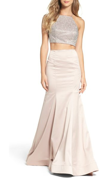 La Femme beaded two-piece mermaid gown in champagne