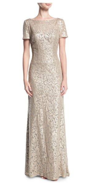 "La Femme Boat-Neck Short-Sleeve Lace Embroidered Evening Gown in light gold - La Femme evening gown in embroidered lace. Approx. 60""L..."