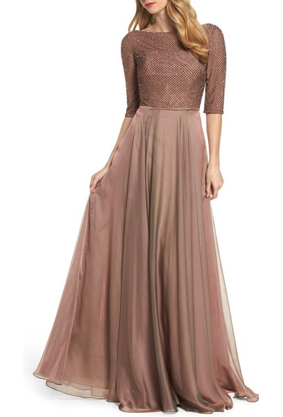 La Femme embellished bodice gown in brown