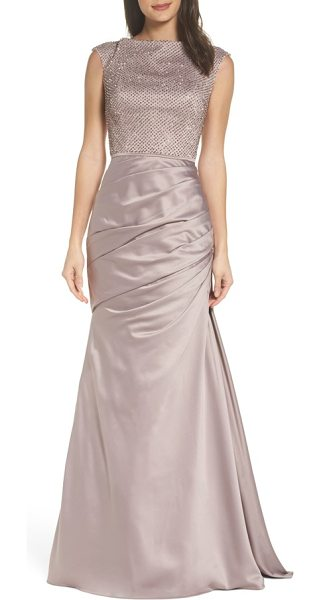 La Femme embellished bodice trumpet gown in champagne - Twinkling beads illuminate the bodice of this lustrous...