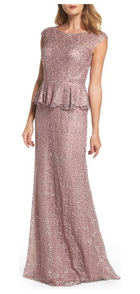 La Femme embellished lace peplum gown in mauve - Cobwebby lace dappled with crystal sparkle is shaped for...
