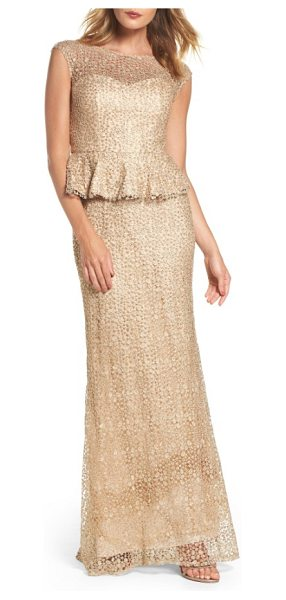 La Femme embellished lace peplum gown in beige - Cobwebby lace dappled with crystal sparkle is shaped for...